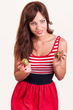 Healthy lifestyle - portrait of young beautiful woman with two h Stock Image