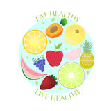 Healthy lifestyle poster. Eat live Healthy. Royalty Free Stock Photo