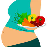 Healthy Lifestyle. Pregnant woman. stock illustration
