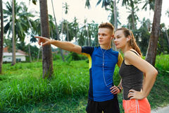 Healthy Lifestyle. Runner Couple Preparing To Jog. Fitness And S Stock Image