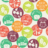 Healthy lifestyle seamless background. Royalty Free Stock Photo