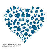 Healthy lifestyle seamless blue background from flat icon heart, Stock Photos