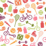 Healthy Lifestyle Seamless Pattern Stock Images