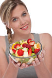Healthy lifestyle series - Bowl of fruit salad Stock Images