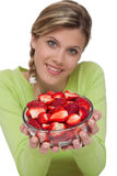 Healthy lifestyle series - Bowl of strawberries Stock Photography