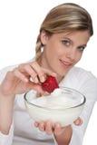 Healthy lifestyle series - Bowl of yogurt Stock Photos