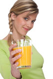 Healthy lifestyle series - Glass of orange juice Stock Photos