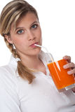 Healthy lifestyle series - Woman drinking juice Stock Photography