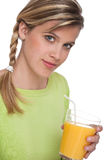 Healthy lifestyle series - Woman holding juice Stock Photography