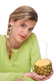 Healthy lifestyle series - Woman holding pineapple Royalty Free Stock Images