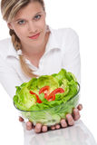 Healthy lifestyle series - Woman holding salad Stock Photos