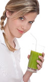 Healthy lifestyle series - Woman with kiwi juice Royalty Free Stock Images