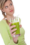 Healthy lifestyle series - Woman with kiwi juice Stock Photos