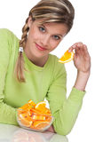 Healthy lifestyle series - Woman with orange Stock Photography