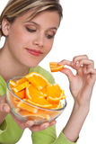 Healthy lifestyle series - Woman with orange Royalty Free Stock Photo