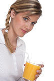 Healthy lifestyle series - Woman with orange juice Stock Photo