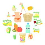 Healthy lifestyle icons set, cartoon style. Healthy lifestyle set. Cartoon illustration of 16 healthy lifestyle vector icons for web vector illustration