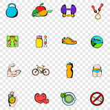 Healthy lifestyle set icons Royalty Free Stock Photos