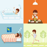 Healthy Lifestyle set - Teenage Girl Stock Images