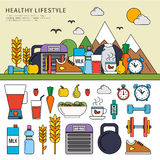 Healthy lifestyle set royalty free illustration