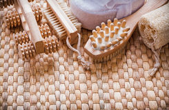 Healthy lifestyle set on wicker mat sauna concept Royalty Free Stock Photos