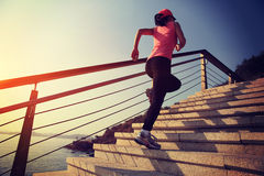Healthy Lifestyle Sports Woman Running Up On Stone Stairs Royalty Free Stock Photography