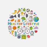 Healthy lifestyle sticker circle. Vector Healthy lifestyle sticker set with shadow in the form of a circle Royalty Free Stock Photo