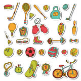 Healthy lifestyle sticker set. Sport icons. Hand drawn doodle fi Stock Photo