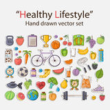 Healthy lifestyle sticker set. Vector Healthy lifestyle sticker set with shadow in doodle style.Sport activities Stock Photography