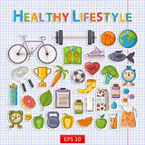 Healthy lifestyle sticker set. Vector Healthy lifestyle sticker set with shadow on the notebook sheet.Hand drawn Icon set with various healthy lifestyle elements Stock Photos