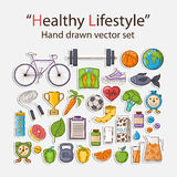 Healthy lifestyle sticker set. Vector Healthy lifestyle sticker set with shadow.Sport activities Stock Image