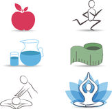 Healthy lifestyle symbol collection Stock Photos