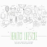 Healthy lifestyle symbols set Royalty Free Stock Photo