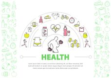 Healthy Lifestyle Template. With running woman strong man yoga fruits fitness equipment scales bicycle vitamins heart line icons isolated vector illustration Royalty Free Stock Image