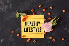 Healthy lifestyle text in memo stock images