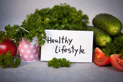Healthy lifestyle -text and vegetables as food concept Stock Photo