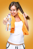 Healthy lifestyle!After the training,drink water! Royalty Free Stock Photo