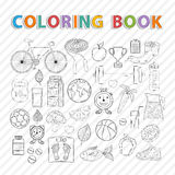 Healthy lifestyle. Vector coloring book.Hand drawn Icon set with various healthy lifestyle elements.Sport activities.Diet and fitness Royalty Free Stock Photo