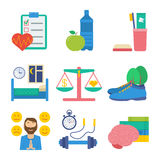 Healthy lifestyle vector elements. Healthy lifestyle flat vector icon set: health control, healthy eating, personal hygiene, healthy sleep, work-life balance Royalty Free Stock Image