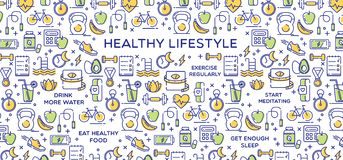 Healthy Lifestyle Vector Illustration, Dieting, Fitness & Nutrition Royalty Free Stock Photo