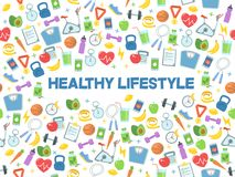 Free Healthy Lifestyle Vector Illustration. Fitness, Nutrition And Health. Royalty Free Stock Images - 111059489