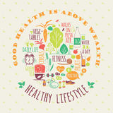 Healthy lifestyle vector illustration. Stock Photography