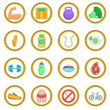 Healthy lifestyle vector set, cartoon style Royalty Free Stock Images