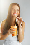 Healthy Lifestyle. Woman Drinking Fresh Detox Juice. Food, Diet, Royalty Free Stock Images