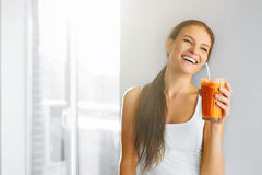 Healthy Lifestyle. Woman Drinking Fresh Detox Juice. Food, Diet, royalty free stock photography