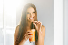 Healthy Lifestyle. Woman Drinking Fresh Detox Juice. Food, Diet, Drinks. royalty free stock images