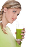 Healthy lifestyle - Woman drinking kiwi juice Stock Photos