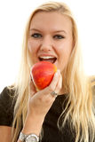 Healthy lifestyle, woman eating apple Stock Image