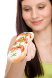Healthy lifestyle - woman enjoy caprese sandwich Stock Photos