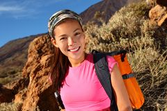 Healthy lifestyle woman hiking Stock Photos